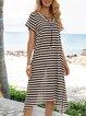 Black Paneled V Neck Short Sleeve Stripes Dresses