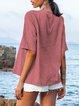 Red Boho V Neck Cotton-Blend Dresses