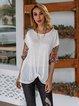 White Shift Long Sleeve Boho Shirts & Tops