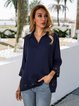 Dark_Blue Casual 3/4 Sleeve Solid Shirt Collar Shirts & Tops
