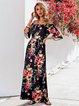 Black V Neck Floral Boho Swing Dresses