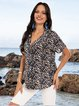 Blue Boho Short Sleeve Cotton-Blend Shirts & Tops
