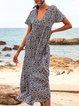 Blue Casual Shift V Neck Floral-Print Dresses
