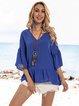Blue Ruffled Holiday Plain V Neck Shirts & Tops