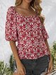 Orange Red Shift Sexy Cotton Floral Shirts & Tops
