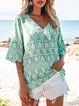 Blue Holiday Floral-Print Cotton-Blend Shirts & Tops