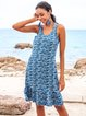 Blue Sleeveless V Neck Shift Cotton-Blend Dresses
