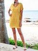 Yellow Paneled Boho V Neck Short Sleeve Mini Dresses