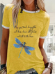 Yellow Animal Casual Crew Neck Cotton Shirts & Tops