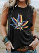 Black Round Neck Sleeveless Shirts & Tops