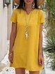 Shift  Mini Summer Women V Neck Linen Dresses