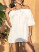 White Cotton-Blend Boho Off Shoulder Shirts & Tops
