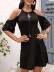 Black Crew Neck Cold Shoulder Cotton-Blend Dresses