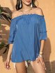 Blue Off Shoulder Half Sleeve Cotton-Blend Shirts & Tops