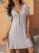 Gray Cotton-Blend Short Sleeve Paneled Dresses