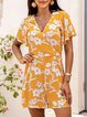 Yellow Short Sleeve V Neck Cotton-Blend One-Pieces