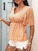 Green Cotton-Blend Short Sleeve V Neck Shirts & Tops