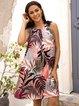 Apricot Paneled Floral Crew Neck Sleeveless Dresses
