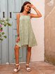 Green Cotton-Blend V Neck Short Sleeve Dresses