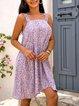 Violet Cotton-Blend A-Line Square Neck Sleeveless Dresses