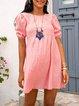 Naked Pink Holiday Short Sleeve Plain Dresses