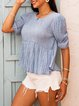 Blue Boho Swing Cotton-Blend Paneled Shirts & Tops