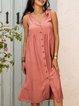 Pink Plain Paneled Casual Dresses