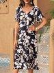 Purplish Blue Boho Cotton-Blend Dresses