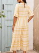 Yellow Striped Short Sleeve Dresses