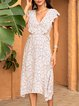 Blue A-Line Long Sleeve V Neck Casual Dresses