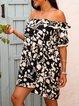 Black Off Shoulder Casual Floral Dresses