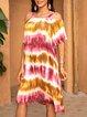Pink Shift Crew Neck Paneled Boho Dresses