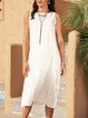 White A-Line Paneled Casual Dresses