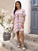 Pink Shift Crew Neck Printed Casual Dresses