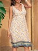 Blue Cotton-Blend Plain V Neck Boho Dresses