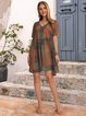 Lightgreen V Neck Cotton-Blend Casual Dresses