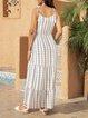 White Striped Swing Paneled Spaghetti-Strap Dresses