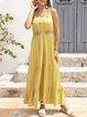 Yellow Swing Cotton-Blend Crew Neck Sleeveless Dresses