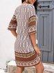 White Paneled Half Sleeve Shift Dresses