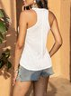 White V Neck Sleeveless Shirts & Tops