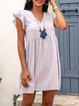 Pink Frill Sleeve A-Line Cotton-Blend Checkered/plaid Dresses