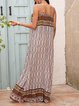 White Paneled Casual A-Line Square Neck Dresses