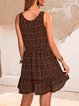 Black Sleeveless Crew Neck Paneled Casual Dresses