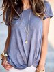 Casual Solid Cotton-Blend Shirts & Tops