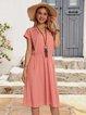 Pink Paneled V Neck Short Sleeve Swing Dresses