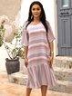 Pink Cotton-Blend Striped V Neck Holiday Dresses
