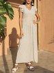White Short Sleeve Cotton-Blend Swing Dresses