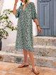 Lightgreen V Neck Casual Shift Half Sleeve Dresses