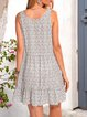 White Boho Swing Paneled Cotton-Blend Dresses