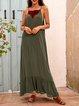 Green Spaghetti-Strap Printed Cotton-Blend A-Line Dresses